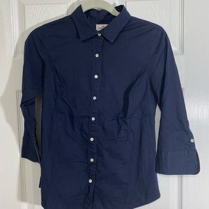 J.CREW HABERDASHERY Navy Blue Button Top